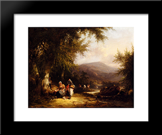 The End Of The Day:  Modern Black Framed Art Print by William Shayer