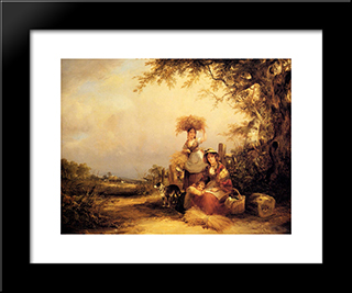 The Gleaners Shirley, Hants:  Modern Black Framed Art Print by William Shayer