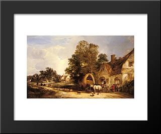 The Half Way House, Thatcham:  Modern Black Framed Art Print by William Shayer