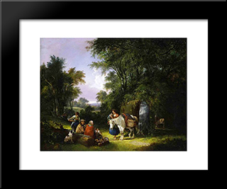 The Midday Rest:  Modern Black Framed Art Print by William Shayer