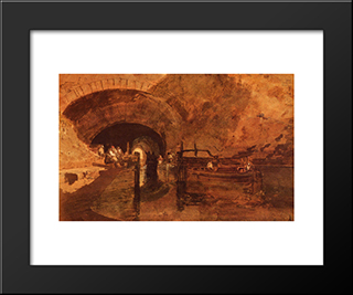 A Canal Tunnel Near Leeds:  Modern Black Framed Art Print by William Turner