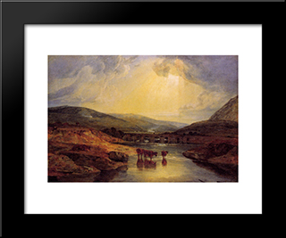 Abergavenny Bridge, Monmountshire -Clearing Up After A Showery Day:  Modern Black Framed Art Print by William Turner