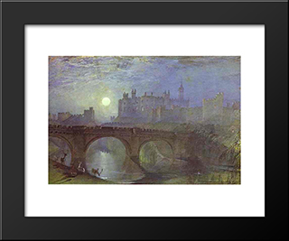 Alnwick Castle, Northumberland:  Modern Black Framed Art Print by William Turner