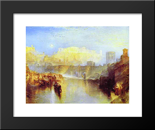 Ancient Rome Agrippina Landing With The Ashes Of Germanicus:  Modern Black Framed Art Print by William Turner