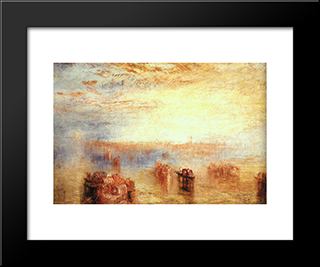 Approach To Venice:  Modern Black Framed Art Print by William Turner