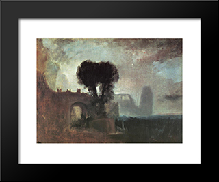 Archway With Trees By The Sea:  Modern Black Framed Art Print by William Turner