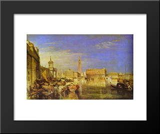 Bridge Of Sighs, Ducal Palace And Custom House, Venice Canaletti Painting:  Modern Black Framed Art Print by William Turner