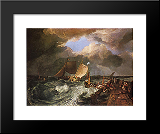 Calais Pier, With French Poissards Preparing For Sea, An English Packeet Arriving:  Modern Black Framed Art Print by William Turner