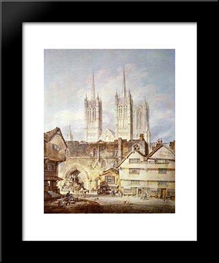 Cathedral Church At Lincoln:  Modern Black Framed Art Print by William Turner