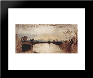 Chichester Canal:  Modern Black Framed Art Print by William Turner