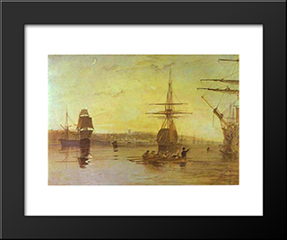Cowes, Isle Of Wight:  Modern Black Framed Art Print by William Turner