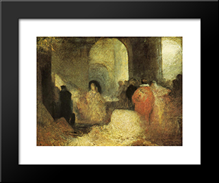 Dinner In A Great Room With Figures- In Costume:  Modern Black Framed Art Print by William Turner