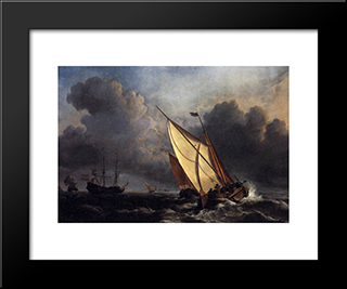 Dutch Fishing Boats In A Storm:  Modern Black Framed Art Print by William Turner