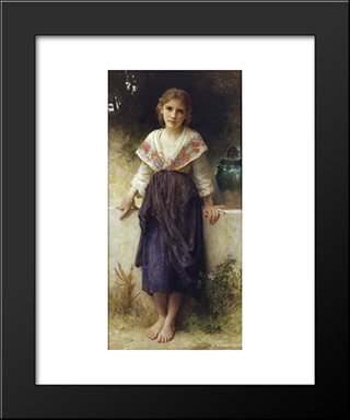A Moment Of Rest: Custom Black Wood Framed Art Print by William Adolphe Bouguereau
