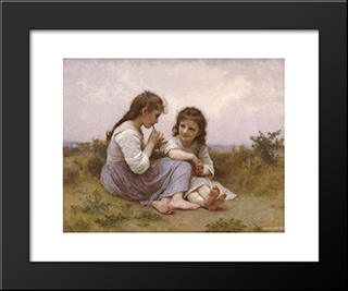 A Childhood Idyll:  Modern Black Framed Art Print by William Adolphe Bouguereau
