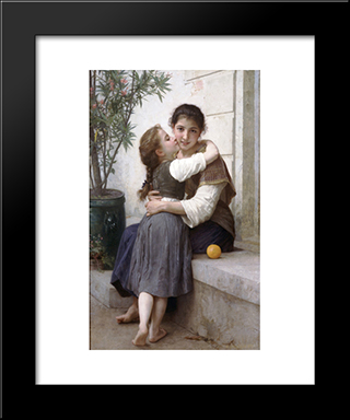 A Little Coaxing:  Modern Black Framed Art Print by William Adolphe Bouguereau
