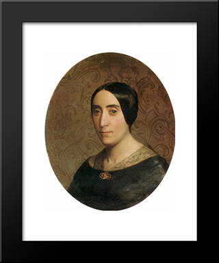 A Portrait Of Amelina Dufaud:  Modern Black Framed Art Print by William Adolphe Bouguereau