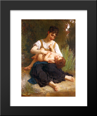 Adolphus Child And Teen:  Modern Black Framed Art Print by William Adolphe Bouguereau