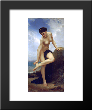 After The Bath:  Modern Black Framed Art Print by William Adolphe Bouguereau