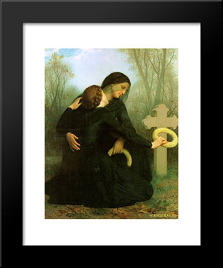 All Saints Day:  Modern Black Framed Art Print by William Adolphe Bouguereau