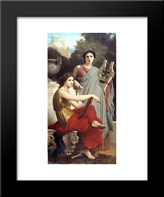Art And Literature:  Modern Black Framed Art Print by William Adolphe Bouguereau
