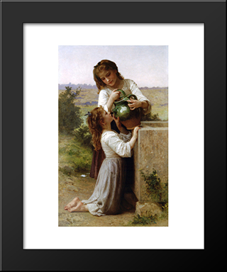 At The Fountain:  Modern Black Framed Art Print by William Adolphe Bouguereau