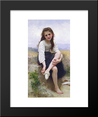 Before The Bath:  Modern Black Framed Art Print by William Adolphe Bouguereau