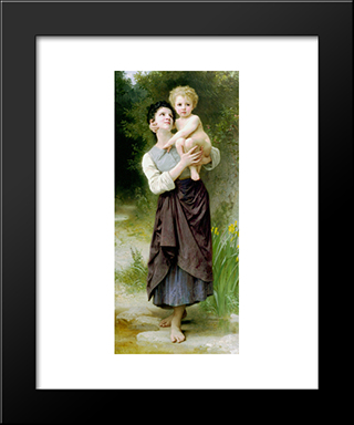 Brother And Sister:  Modern Black Framed Art Print by William Adolphe Bouguereau