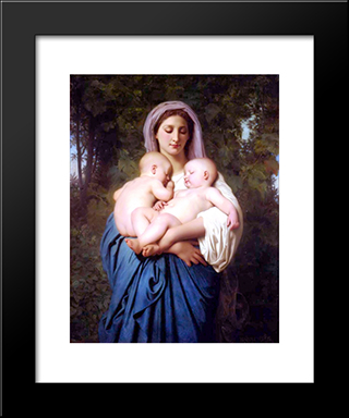 Charity:  Modern Black Framed Art Print by William Adolphe Bouguereau