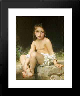 Child At Bath:  Modern Black Framed Art Print by William Adolphe Bouguereau