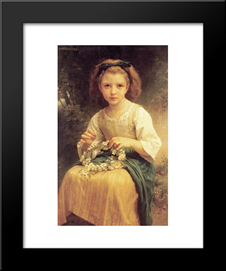 Child Braiding A Crown:  Modern Black Framed Art Print by William Adolphe Bouguereau