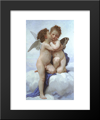 Cupid And Psyche: Custom Black Wood Framed Art Print by William Adolphe Bouguereau
