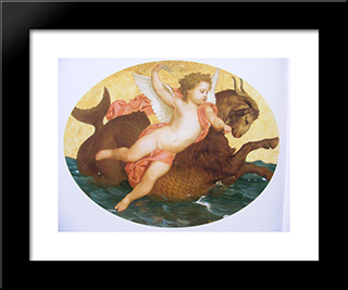 Cupid On A Sea Monster:  Modern Black Framed Art Print by William Adolphe Bouguereau