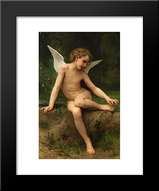 Cupid With Thorn:  Modern Black Framed Art Print by William Adolphe Bouguereau