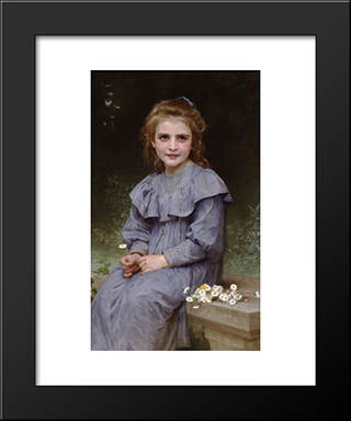 Daisies:  Modern Black Framed Art Print by William Adolphe Bouguereau