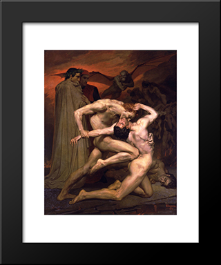 Dante And Virgil In Hell:  Modern Black Framed Art Print by William Adolphe Bouguereau