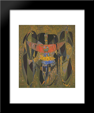 Messenger From The Three Poles:  Modern Black Framed Art Print by Wolfgang Paalen