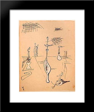 Metamorphose Interrompue:  Modern Black Framed Art Print by Wolfgang Paalen