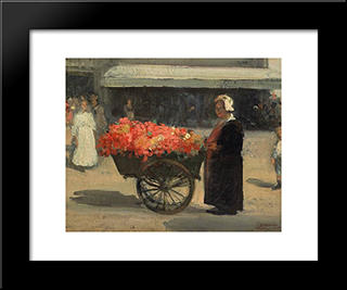 Flower Merchant In Paris:  Modern Black Framed Art Print by Xavier Martinez
