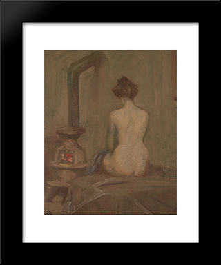 Girl Dressing:  Modern Black Framed Art Print by Xavier Martinez