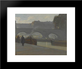 Pont Neuf, Paris:  Modern Black Framed Art Print by Xavier Martinez