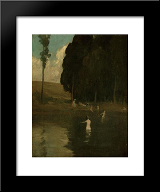 The Bathers:  Modern Black Framed Art Print by Xavier Martinez