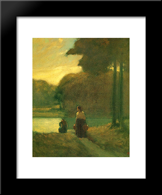 The Water Carriers:  Modern Black Framed Art Print by Xavier Martinez