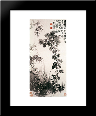 Chrysanthemums And Bamboos:  Modern Black Framed Art Print by Xu Wei