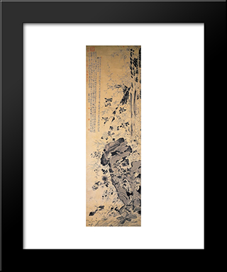 Flowers And Bamboo:  Modern Black Framed Art Print by Xu Wei