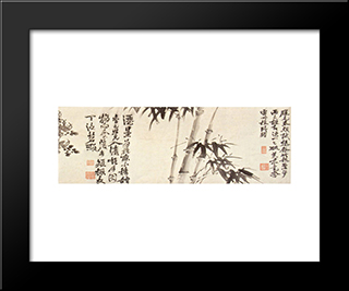 Twelve Plants And Calligraphy:  Modern Black Framed Art Print by Xu Wei