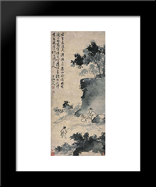 Wang Xizhi Catching The Goose:  Modern Black Framed Art Print by Xu Wei