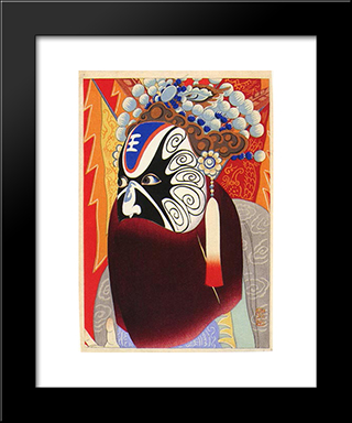 Actor In Chinese Play:  Modern Black Framed Art Print by Yamamura Toyonari