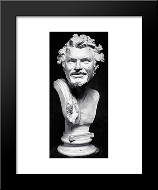 Head Of Satyr:  Modern Black Framed Art Print by Yannoulis Chalepas