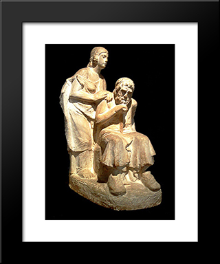 Oedipus And Antigone:  Modern Black Framed Art Print by Yannoulis Chalepas